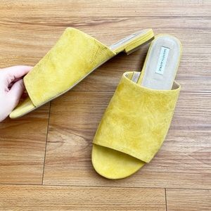 Saks Fifth Avenue   Yellow Suede Sandal Slides